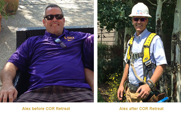 Alex Before and After COR Retreat - Weight Loss Success Story