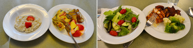 Food Served at COR Retreat - Breakfast and Dinner