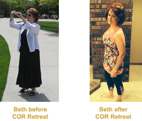 Beth Before and After COR Retreat